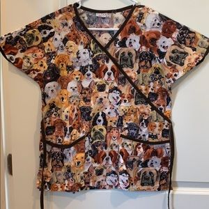 Uniform Advantage Dog Print Scrub Top